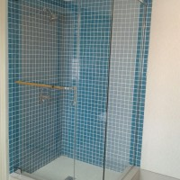 Custom 90 Degree Shower with Header, Pivot Hinges, and Square Style Towel Bar and Handle Combo