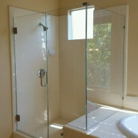 Frameless 90 Degree Shower with Step in 1/2