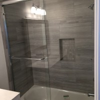 Bypass Sliding Shower in 1/4 clear glass and Chrome Hardware
