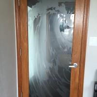 Custom Wave Sandblast Design for Entry Door