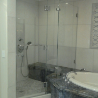 Custom Door and Panel Inline Shower with 2 Inline Panels, Heavy Duty Clamps, Glass to Glass Hinges, and 1/2