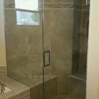 Door and Panel Inline Shower with Custom Mitered Fixed Panel in 3/8