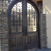 Rain Glass Custom Arched for A Front Entry Way